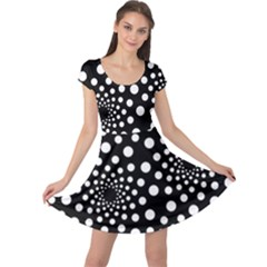 Dot Dots Round Black And White Cap Sleeve Dresses