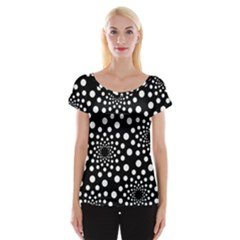 Dot Dots Round Black And White Women s Cap Sleeve Top
