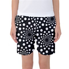 Dot Dots Round Black And White Women s Basketball Shorts