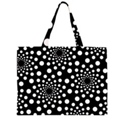 Dot Dots Round Black And White Large Tote Bag