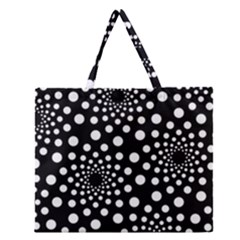 Dot Dots Round Black And White Zipper Large Tote Bag