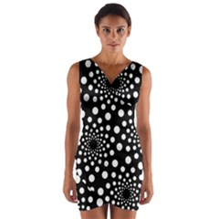 Dot Dots Round Black And White Wrap Front Bodycon Dress