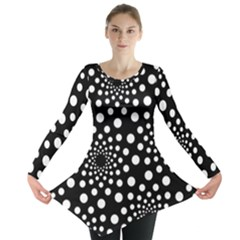 Dot Dots Round Black And White Long Sleeve Tunic