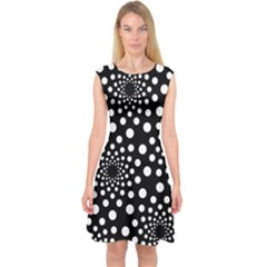 Dot Dots Round Black And White Capsleeve Midi Dress