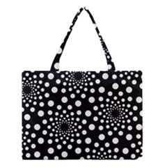 Dot Dots Round Black And White Medium Tote Bag