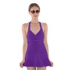 Pattern Violet Purple Background Halter Swimsuit Dress