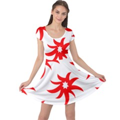 Star Figure Form Pattern Structure Cap Sleeve Dresses
