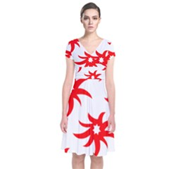 Star Figure Form Pattern Structure Short Sleeve Front Wrap Dress