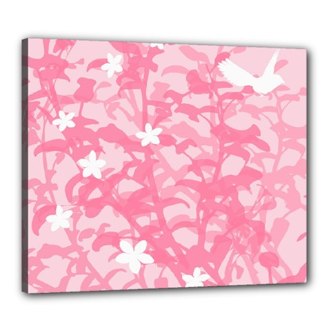 Plant Flowers Bird Spring Canvas 24  x 20