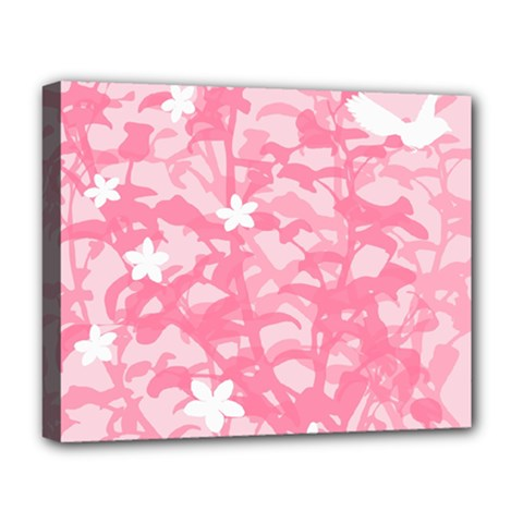 Plant Flowers Bird Spring Deluxe Canvas 20  X 16