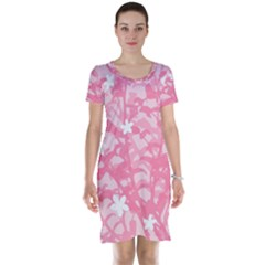 Plant Flowers Bird Spring Short Sleeve Nightdress