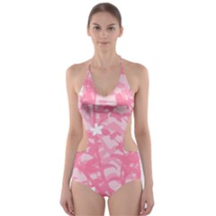Plant Flowers Bird Spring Cut-Out One Piece Swimsuit