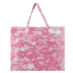 Plant Flowers Bird Spring Zipper Large Tote Bag