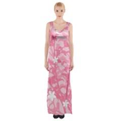 Plant Flowers Bird Spring Maxi Thigh Split Dress