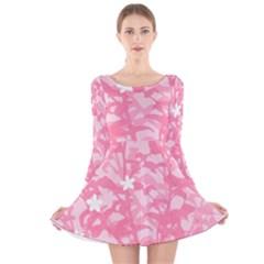Plant Flowers Bird Spring Long Sleeve Velvet Skater Dress