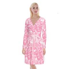 Plant Flowers Bird Spring Long Sleeve Velvet Front Wrap Dress