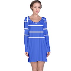 Stripes Pattern Template Texture Long Sleeve Nightdress