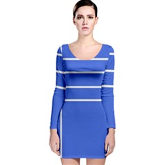 Stripes Pattern Template Texture Long Sleeve Velvet Bodycon Dress