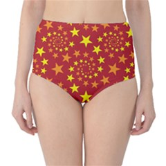 Star Stars Pattern Design High-Waist Bikini Bottoms