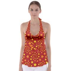 Star Stars Pattern Design Babydoll Tankini Top