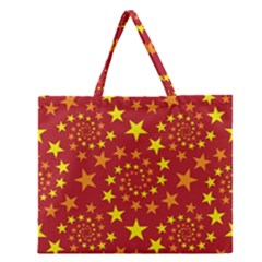 Star Stars Pattern Design Zipper Large Tote Bag
