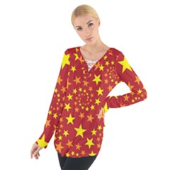 Star Stars Pattern Design Women s Tie Up Tee