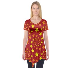 Star Stars Pattern Design Short Sleeve Tunic