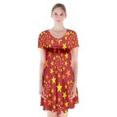 Star Stars Pattern Design Short Sleeve V-neck Flare Dress