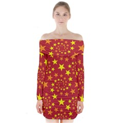 Star Stars Pattern Design Long Sleeve Off Shoulder Dress
