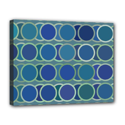 Circles Abstract Blue Pattern Canvas 14  x 11