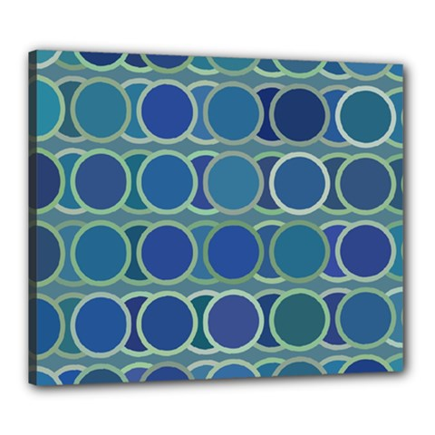 Circles Abstract Blue Pattern Canvas 24  x 20