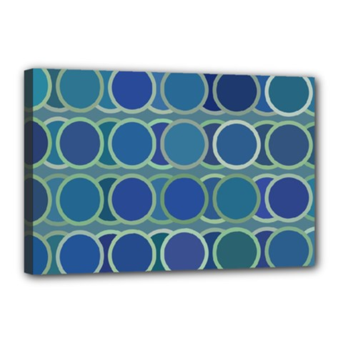 Circles Abstract Blue Pattern Canvas 18  X 12