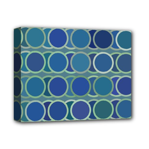 Circles Abstract Blue Pattern Deluxe Canvas 14  x 11