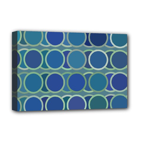 Circles Abstract Blue Pattern Deluxe Canvas 18  X 12