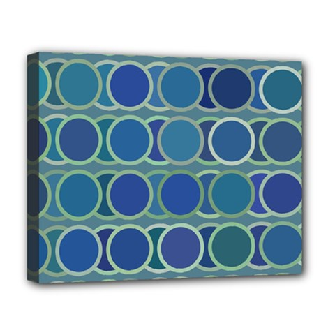 Circles Abstract Blue Pattern Deluxe Canvas 20  x 16