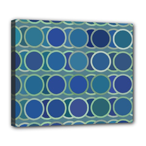 Circles Abstract Blue Pattern Deluxe Canvas 24  x 20