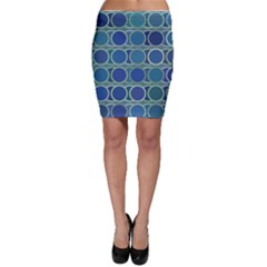 Circles Abstract Blue Pattern Bodycon Skirt