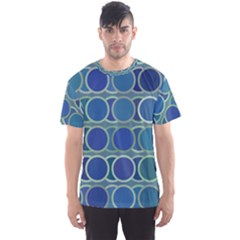 Circles Abstract Blue Pattern Men s Sport Mesh Tee