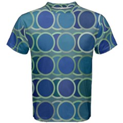Circles Abstract Blue Pattern Men s Cotton Tee