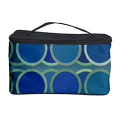 Circles Abstract Blue Pattern Cosmetic Storage Case