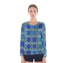 Circles Abstract Blue Pattern Women s Long Sleeve Tee