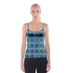 Circles Abstract Blue Pattern Spaghetti Strap Top
