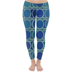 Circles Abstract Blue Pattern Classic Winter Leggings