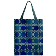 Circles Abstract Blue Pattern Zipper Classic Tote Bag