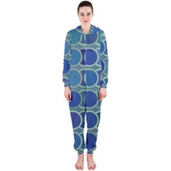 Circles Abstract Blue Pattern Hooded Jumpsuit (ladies)