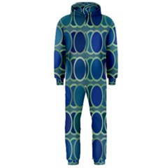 Circles Abstract Blue Pattern Hooded Jumpsuit (Men)
