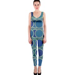 Circles Abstract Blue Pattern OnePiece Catsuit