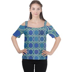 Circles Abstract Blue Pattern Women s Cutout Shoulder Tee