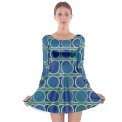Circles Abstract Blue Pattern Long Sleeve Skater Dress