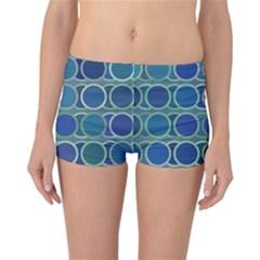 Circles Abstract Blue Pattern Reversible Bikini Bottoms